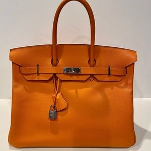 Authentic Hermes Orange d'H Epsom leather Birkin35